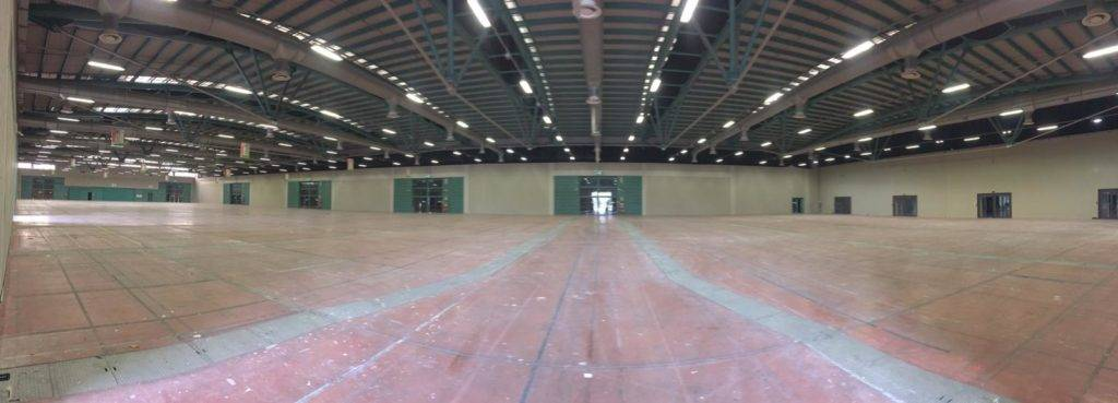 set up of the field hospital at the Bergamo fair, pavilion B to accommodate covid19 patients