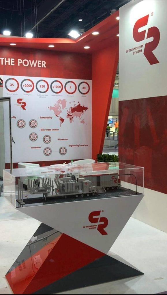 Dettaglio del nostro modellino della sottostazione mobile alla fiera Middle East Energy 2020
