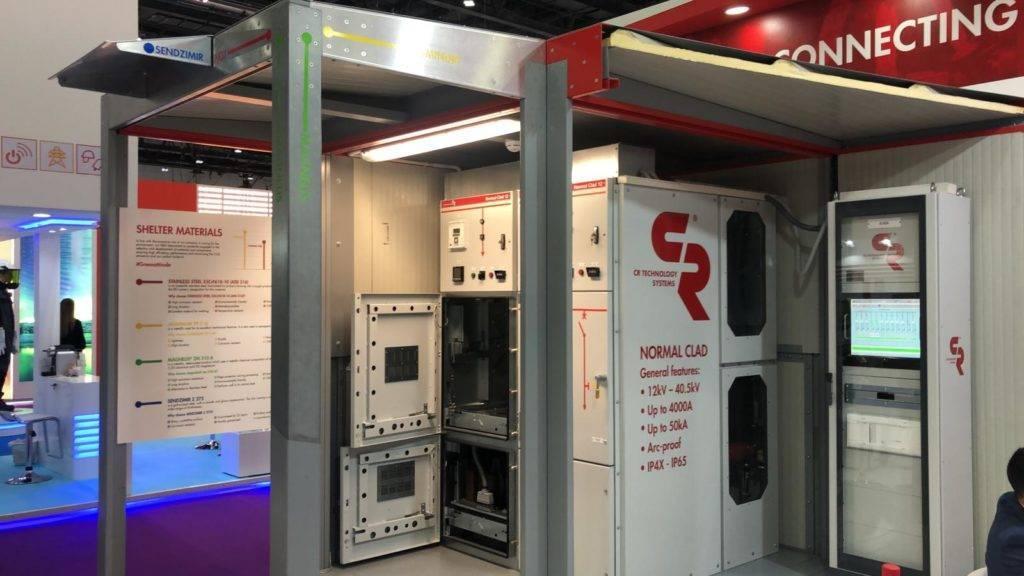 Sottostazione compatta contenente quadri elettrici MT Normal Clad e sistema SCADA nel nostro stand alla fiera Middle East Energy 2020